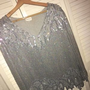 ❄️ Neiman Marcus Sequins Blouse XL